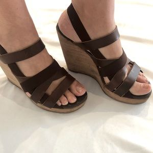 Brown Leather DKNY Wedge Sandals